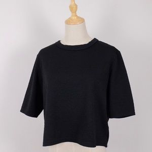 Topshop Crop Top with Geometric Textured Pattern